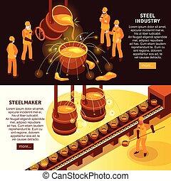 Steel Industry Isometric Banners - Metallurgy industry 2...