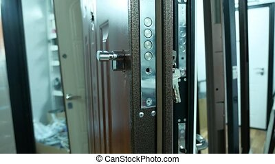 steel iron door in the store range of purchase sale with...