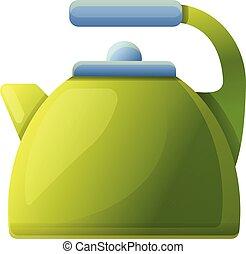 Steel kettle icon, cartoon style