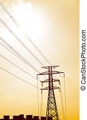 Steel lattice framework electricity pylon with high voltage dist
