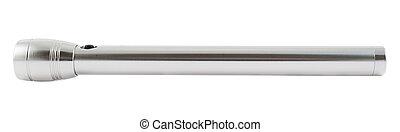 Steel LED flashlight isolated