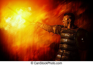 steel man - Portrait of a courageous ancient warrior in...