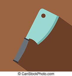 Steel meat knife icon, flat style