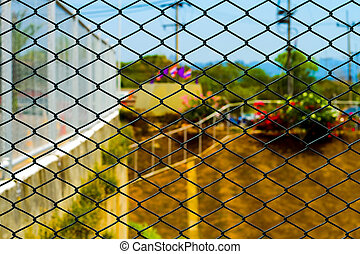 Steel mesh fence background