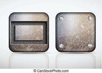 Steel metal app icons