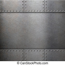 steel metal armour background - metal with rivets armour...