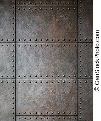 steel metal armour background with rivets - rust metal...