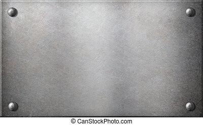 steel metal plate with rivets