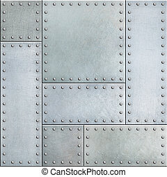 Steel metal plates with rivets seamless background