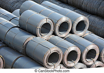 Stacked steel metal-roll, ready for shipment in port