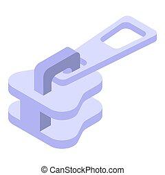 Steel metal zipper icon, isometric style