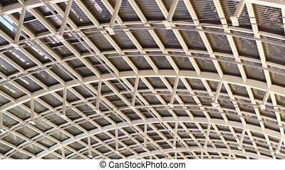 Steel modern ceiling - Bottom view of steel ceiling of large...