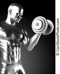 Steel muscle man - 3d rendered illustration of a steel...
