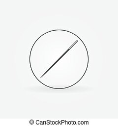 Steel needle in circle icon. Vector sewing symbol