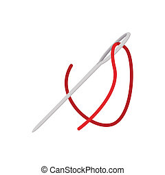 Steel needle with red thread cartoon icon