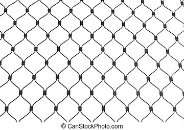 Steel cable netting background texture pattern isolated on white background.