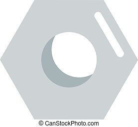 Steel nut icon isolated on white