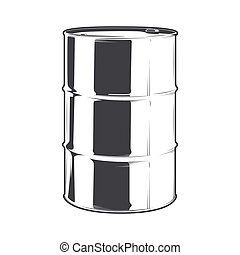 Steel oil barrel isolated on a white background. Line art....