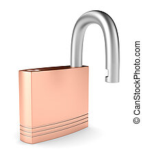 steel open lock on white background. Isolated 3D image
