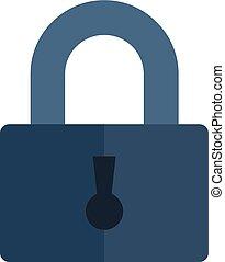 Steel padlock icon, flat style