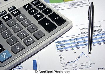 Steel pen, calculator and stock market analysis report.
