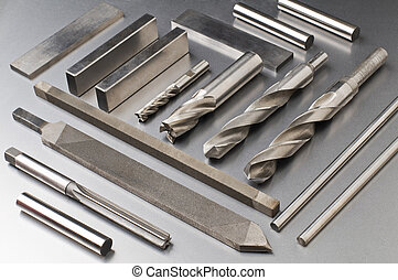 Steel - Arranged steel tools on metal background close up