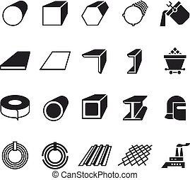 Steel pipe and roll steel metal product vector icons