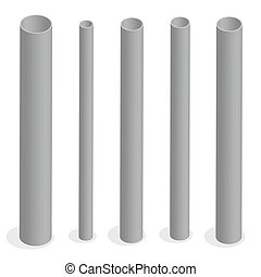 Steel pipe isometric vector illustration.