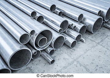 Steel Pipes - An image of some steel pipes in a warehouse