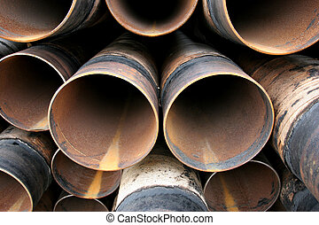Steel pipes closeup