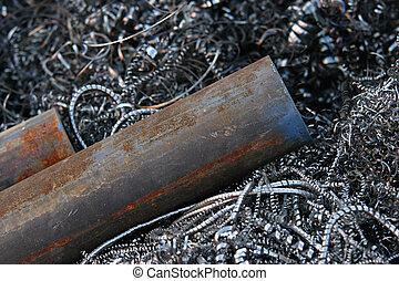 steel pipes on shavings