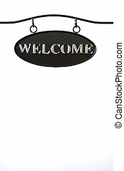 Black steel plate with word welcome
