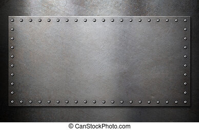 steel plate with rivets over metal background