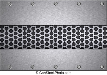 Brushed steel plates riveted to grill background