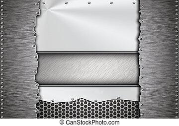 Brushed steel plates riveted together