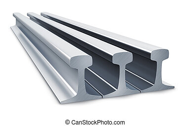 Creative abstract railroad industry, railway technology and metallurgy manufacturing business concept: group of steel metal rail segments isolated on white background