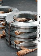 Steel reams - Rolls of hopp iron in a metal workshop