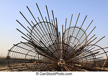 steel rebar component in a construction site, North China.