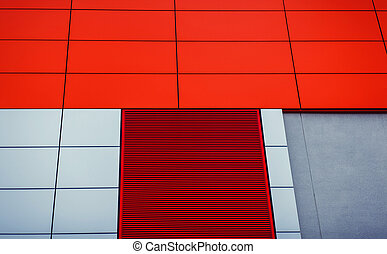 Steel red high rise commercial building
