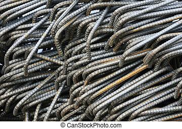 Steel Reinforcement - Closeup shot of steel bar...
