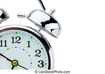 steel retro alarm clock detail time concept on white background is insulated