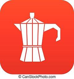Steel retro coffee pot icon digital red