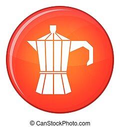 Steel retro coffee pot icon, flat style