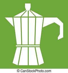 Steel retro coffee pot icon green