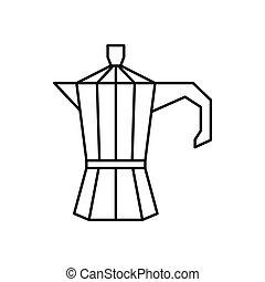 Steel retro coffee pot icon, outline style