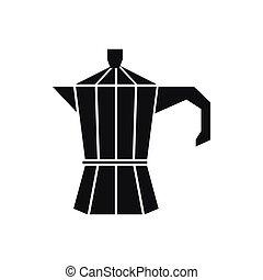 Steel retro coffee pot icon, simple style