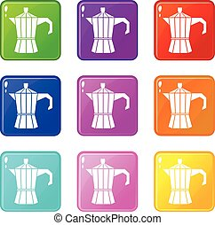 Steel retro coffee pot icons 9 set