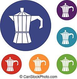 Steel retro coffee pot icons set