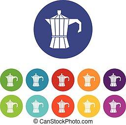 Steel retro coffee pot set icons