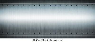 Steel riveted brushed plate. Banner background texture.